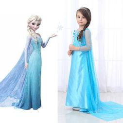 Elsa Princess Dress Girls Snow Queen Dress Costume Party Cos