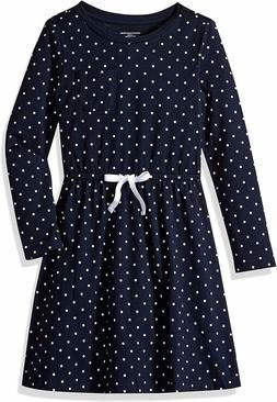 Essentials Little Girls' Long-Sleeve Elastic Waist Dress,Nav