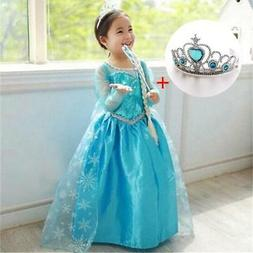 Fancy 4-10y Baby Girl Princess Elsa Dress for Girls Clothing