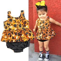 Fashion Newborn Baby Girl Halloween Tops Dress Plaid Shorts