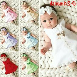 Fashion Newborn Baby Girl Sleeveless Casual Maxi Bow Dress+H