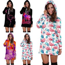 Fashion Women Girl Bodycon Flamingo 3D Print Hoodies Sweatsh