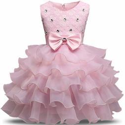 Flower Girl Dress For Wedding Baby Girl 3-8 Years Birthday O