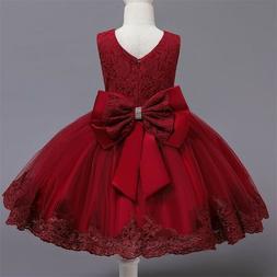Flower Girl Dress Red Lace Princess Bow Baby Wedding Birthda