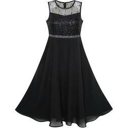Flower Girl Dress Rhinestone Chiffon Bridesmaid Dance Ball M