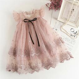 Flower Girl Kids Lace Pink Princess Tutu Dress Tulle Party B
