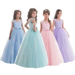 Flower Girl Kids Pageant Party Long Lace Wedding Birthday Pr