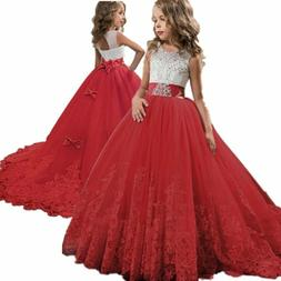 Flower Girl Princess Dress Trailing Gown for Kids Embroidery