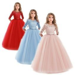 Flower Girls Princess Dress Kids Party Wedding Lace Long Tut