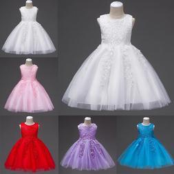 Flower Kids Girl Princess Lace Bridesmaid Wedding Dress Gown