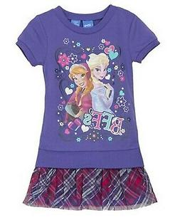 Disney Frozen Girls BFF Mixed Media Plaid Dress Purple Sz 4/