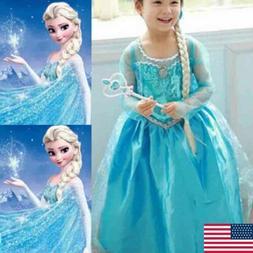 Girl Dress Up Princess Child Anna Elsa Halloween Cosplay Cos