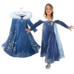 Girl Dresses Princess Child Anna Elsa Cosplay Frozen Kid Cos