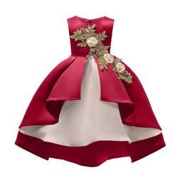 Girl Embroidery Silk Princess Dress Skirt Children's one-pie