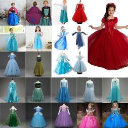 Girl Cartoon Dress Anna & Elsa Princess Party Fancy Dress Up