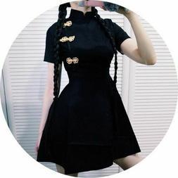 Girl Harajuku Vintage Gothic China Loli Black Slim Chinese S
