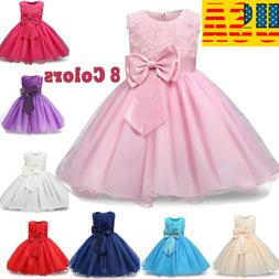 Girl's Baby Bridesmaid Dresses Flowers Kid Party Rose Bow We