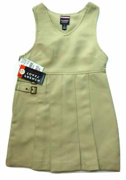 FRENCH TOAST Girl's sz 5 5T Jumper Dress Double Buckle Khaki