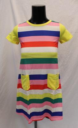 Arshiner Girl's Short Sleeve Rainbow Dress SV3 Multi-Color E