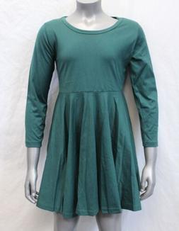 Arshiner Girl's Solid Long Sleeve Skater Dress SH3 Green Siz