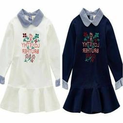 Girl Sweatshirt Dress Kids Hoodies Embroidered Striped Patch