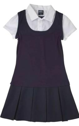 Girls French Toast 2-in-1 Pleated Dress Navy BLUE /WHITE SIZ