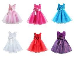 Girls Bridesmaid Dress Baby Flower Kids Party Rose Bow Weddi