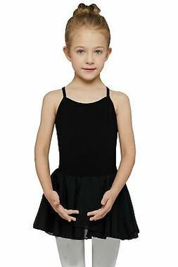 MdnMd Girls' Camisole Cotton Leotard Dress Black 6- 8 / Inte
