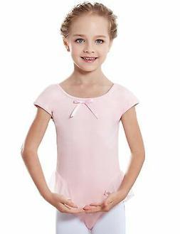 MdnMd Girls' Cap Sleeve Flutter Waist Leotard Dress Ballet P
