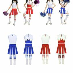 Girls Cheerleader Costume Uniform Cheerleading Dress Outfit
