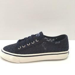 Keds Girls Double Up Navy Eyelet Sneaker Youth 4.5M Lace Up