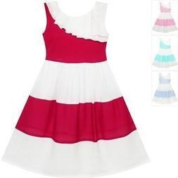 Sunny Fashion Girls Dress Pleated Collar Color Block Chiffon