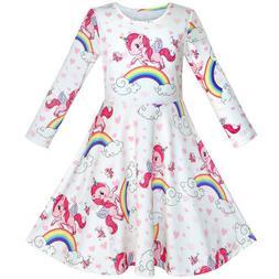 Sunny Fashion Girls Dress Unicorn Rainbow Long Sleeve Casual