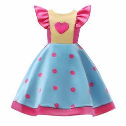 Girls dresses wave prints big children's dress skirt small f