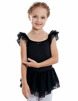 MdnMd Girls' Flutter Sleeve Ballet Leotard Dress Black 8- 10
