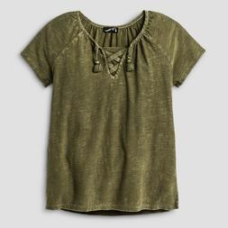 Girls' Lace-Up T-Shirt Art Class - Olive  M 7/8 NWT