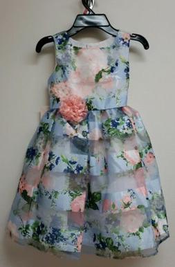 Jona Michelle Girls Light Blue Floral Dress - Size 5