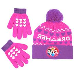 Disney Girls' Little Princess Character Hat and Gloves Cold
