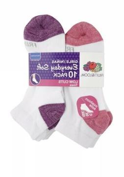 Girls Low Cut Cushioned Socks Medium 10.5-4 Fruit Of The Loo