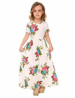 Arshiner Girls Maxi Dress Short Sleeve Floral Print, Z_pat1,