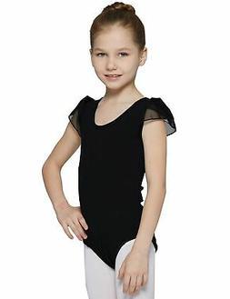 MdnMd Girls' Petal Cap Sleeve Dance Leotard Dress Black 6- 8
