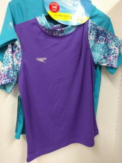 Speedo Girls Rash Guard 2pk Shirts Small Snag on Purple Shir