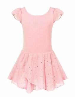 Arshiner Girls Ruffle Sleeve Ballet Dance Dress Glitter Tutu