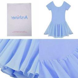 Arshiner Girls' Ruffle Sleeve Skirted Leotard BLUE 130 13 AG