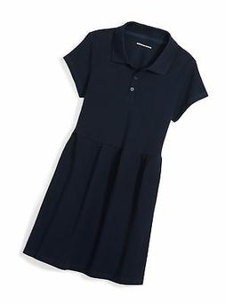 Amazon Essentials Girls' Short-Sleeve Polo Dress Navy S