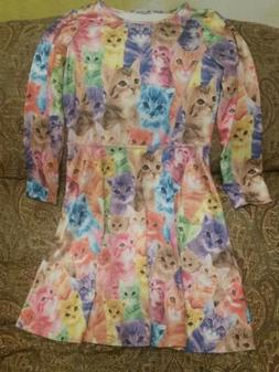 JXSTAR GIRLS SIZE 10-11Y 150 CATS PRINT COLORFUL DRESS