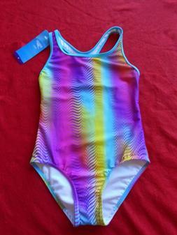 Speedo Girls' Size 10 One Piece Swimsuit Rainbow Brights Mul