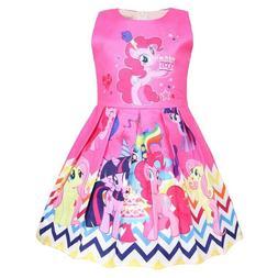 Girls Skater Dress Kids My Little Pony Print Casual Party Bi