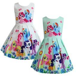 Fancy Girl Skater Dress Kids My Little Pony Casual Party Bir