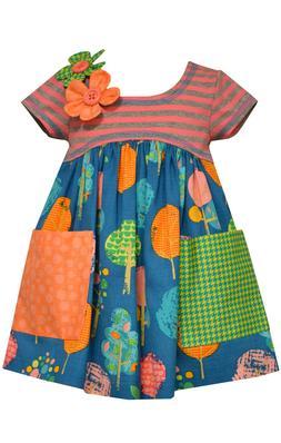 Bonnie Jean Girls Stripe Floral Poplin School Fall 2 Pocket